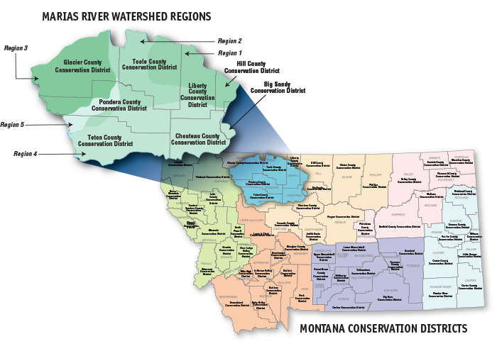 Marias Watershed Conservation District Region Map